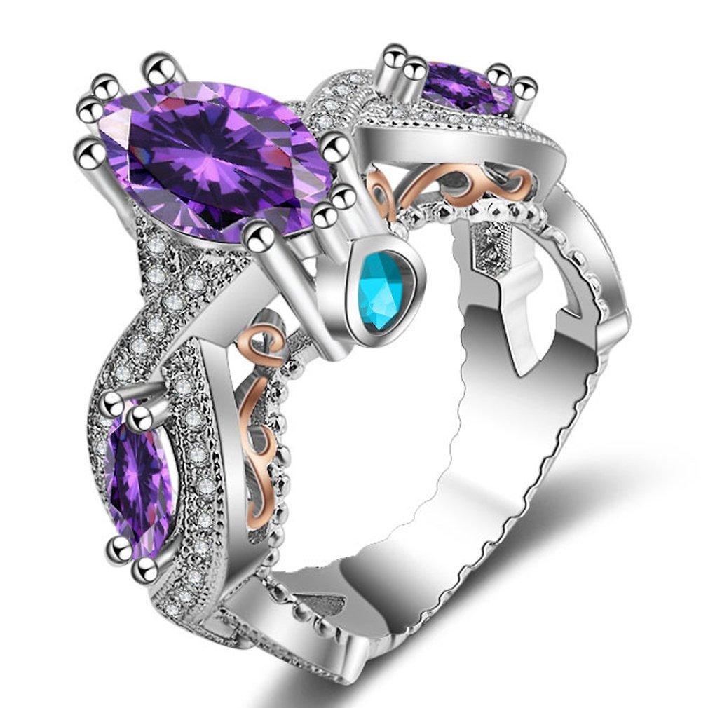 FENDINA Women's Infinity Rings Vintage Pear Cut CZ Twisting Cross Shank Bridal Engagement Wedding Halo Promise Eternity Rings Purple, 5