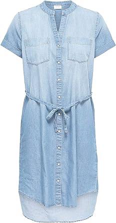 Camisa para Mujer Vestido Denim Blusa Longshirt Manga Corta: Amazon.es: Ropa y accesorios