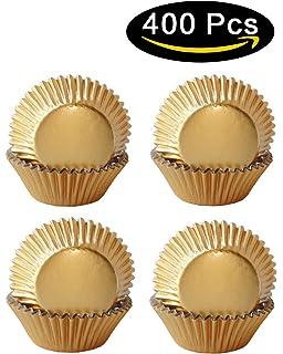 Amazon.com: Eoonfirst Gold Foil Metallic Cupcake Case Liners ...