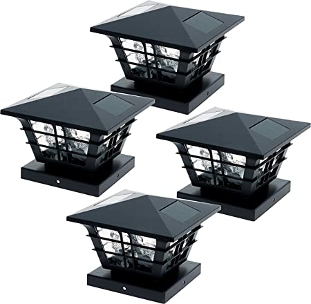GreenLighting 4 Pack Cape Cod 5x5 Solar Powered Post Cap Light with 4x4 Base Adapter, Fits 5 inch and 4 inch PVC Posts (Black)