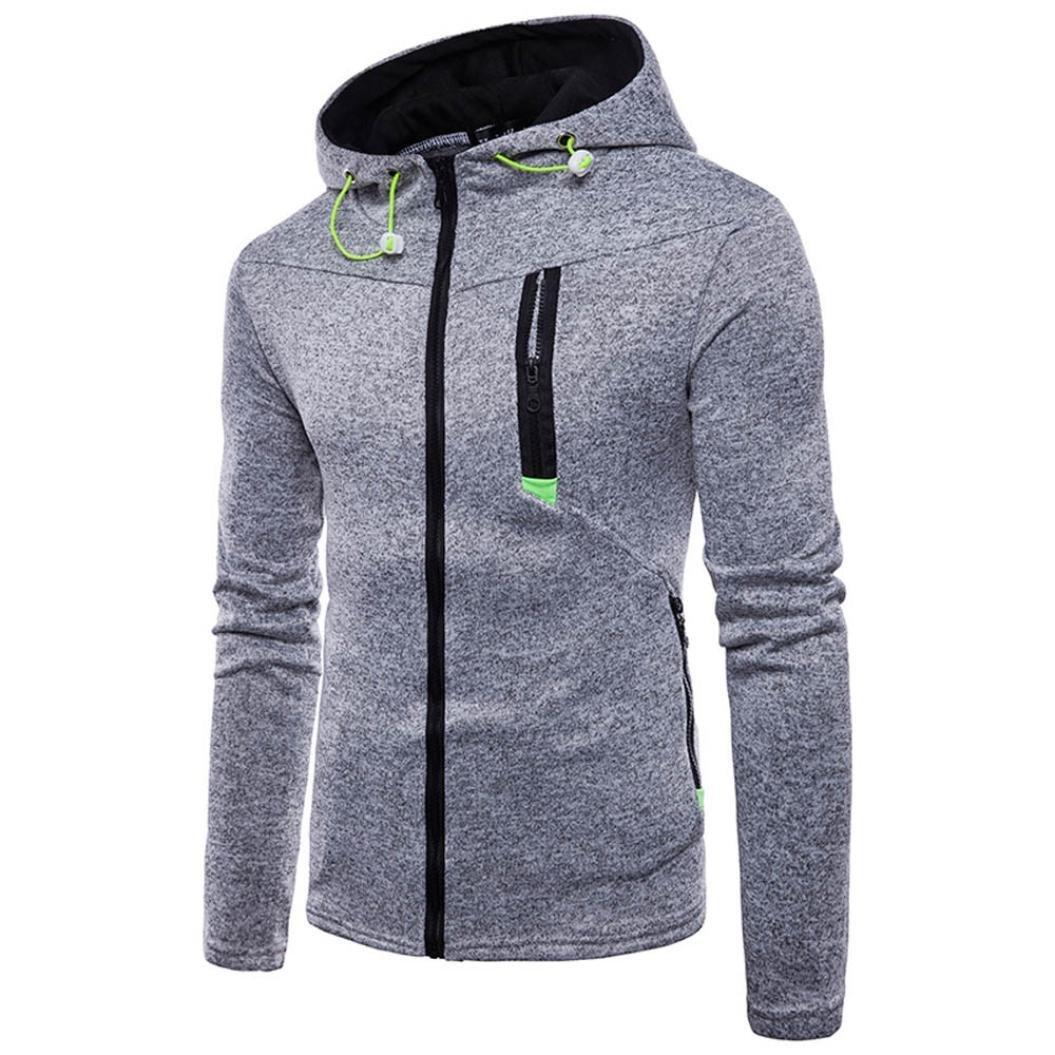 Xchenda Men's Long Sleeve Cotton Zipper O-Neck Jacket Hoodie Pullover Coat Sweatshirt Top Tee Outwear Blouse (XL, Gray)