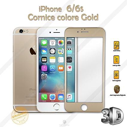 a67e178ca82 Protector de cristal templado 3D para Apple iPhone 6, 6S con marco,  protección completa