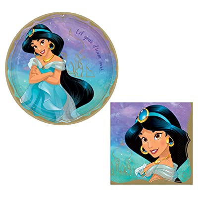 Aladdin's Princess Jasmine Themed Party Supplies: Bundle Includes Round Dinner Plates and Napkins for 16 People: Health & Personal Care