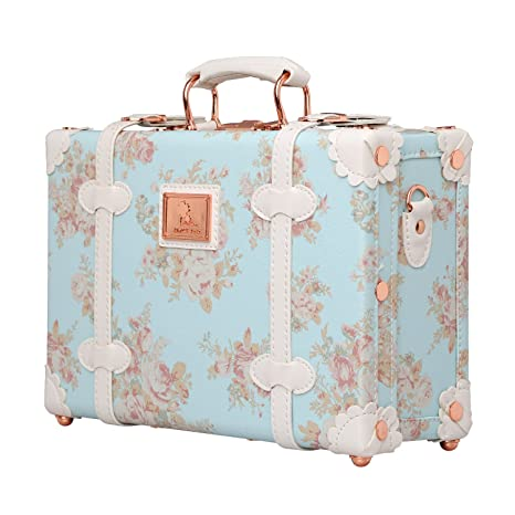 d356d963a792 Unitravel Floral Women Suitcase Small Vintage Luggage Cosmetic Train ...
