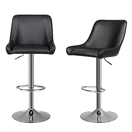 7eb1bbfc72cb Image Unavailable. Image not available for. Color  SONGMICS 2 x Adjustable Bar  Stools with Large Seat and Back Kitchen Breakfast Chairs PU 360