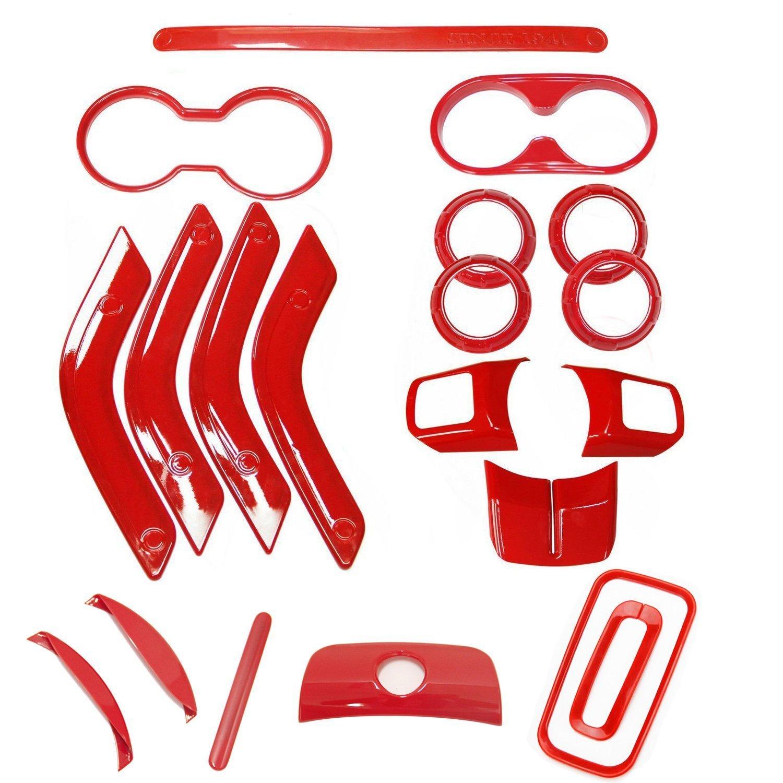 Bentolin 20Pcs Red Full Set Interior Decoration Trim Kit for Jeep Wrangler 2011-2017 4 Door Air Outlet /& Door Inner Handle /& Handbrake Trim /& Cup Holder /& Gear Shift Knobs Cover Trim