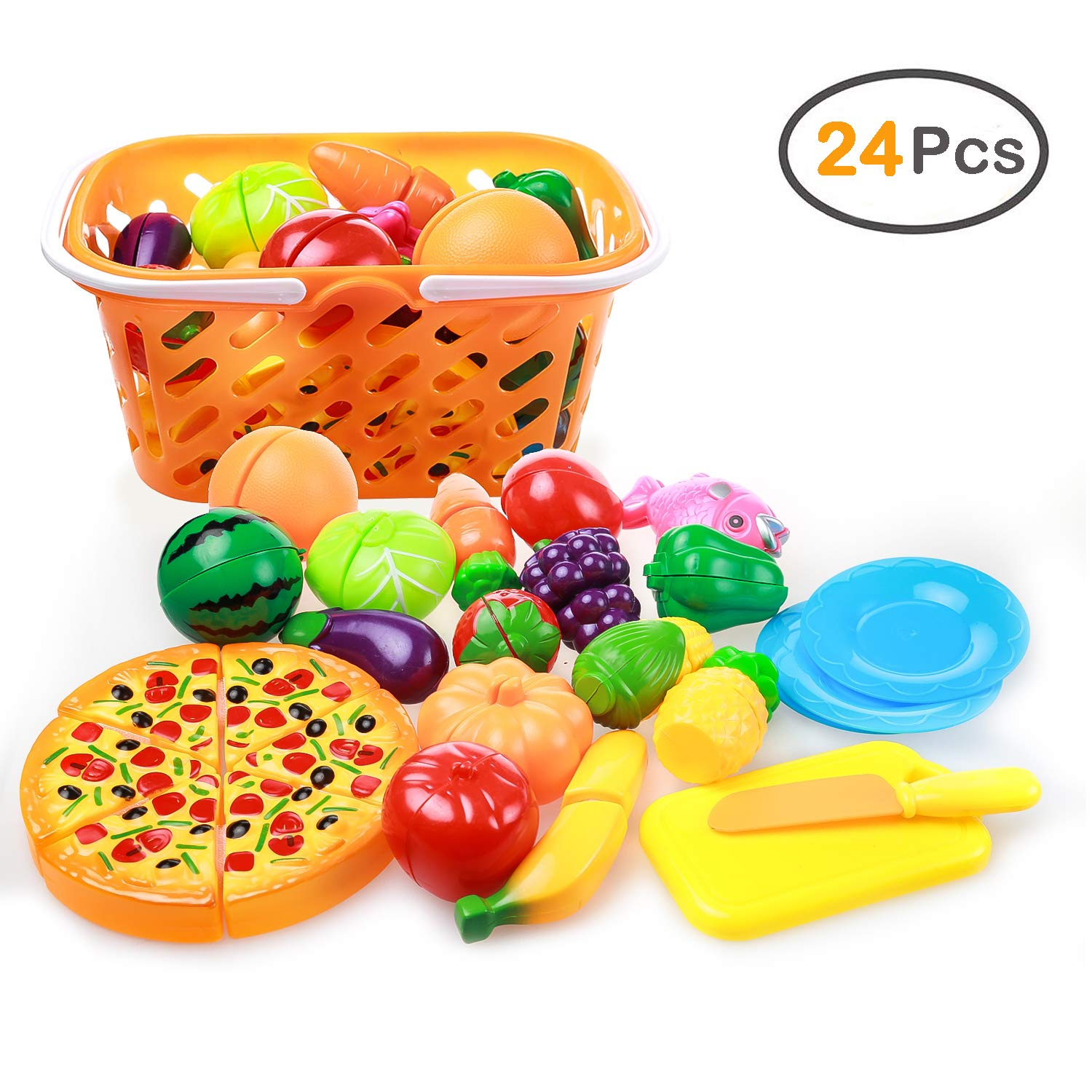 Play Food, ZOUTOG 24 Pieces Cutting Food Set for Kids Kitchen, Cooking Toys with Fruits/Veggies / Pizza/Storage Basket for Toddlers