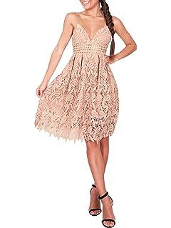 b4aa296517f1 Missy Chilli Damen Midi Kleid Sommer Sexy Elegant Ärmellos V Ausschnitt  Rückenfrei Spitz Knielang Kleid Party