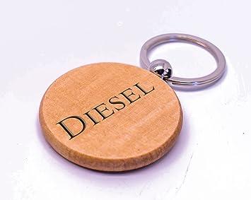 Personalizable redondo Diesel llavero de madera, Laser ...