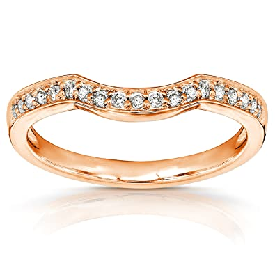 Amazon Com Round Diamond Curved Wedding Band 1 6 Carat Ctw In 14k
