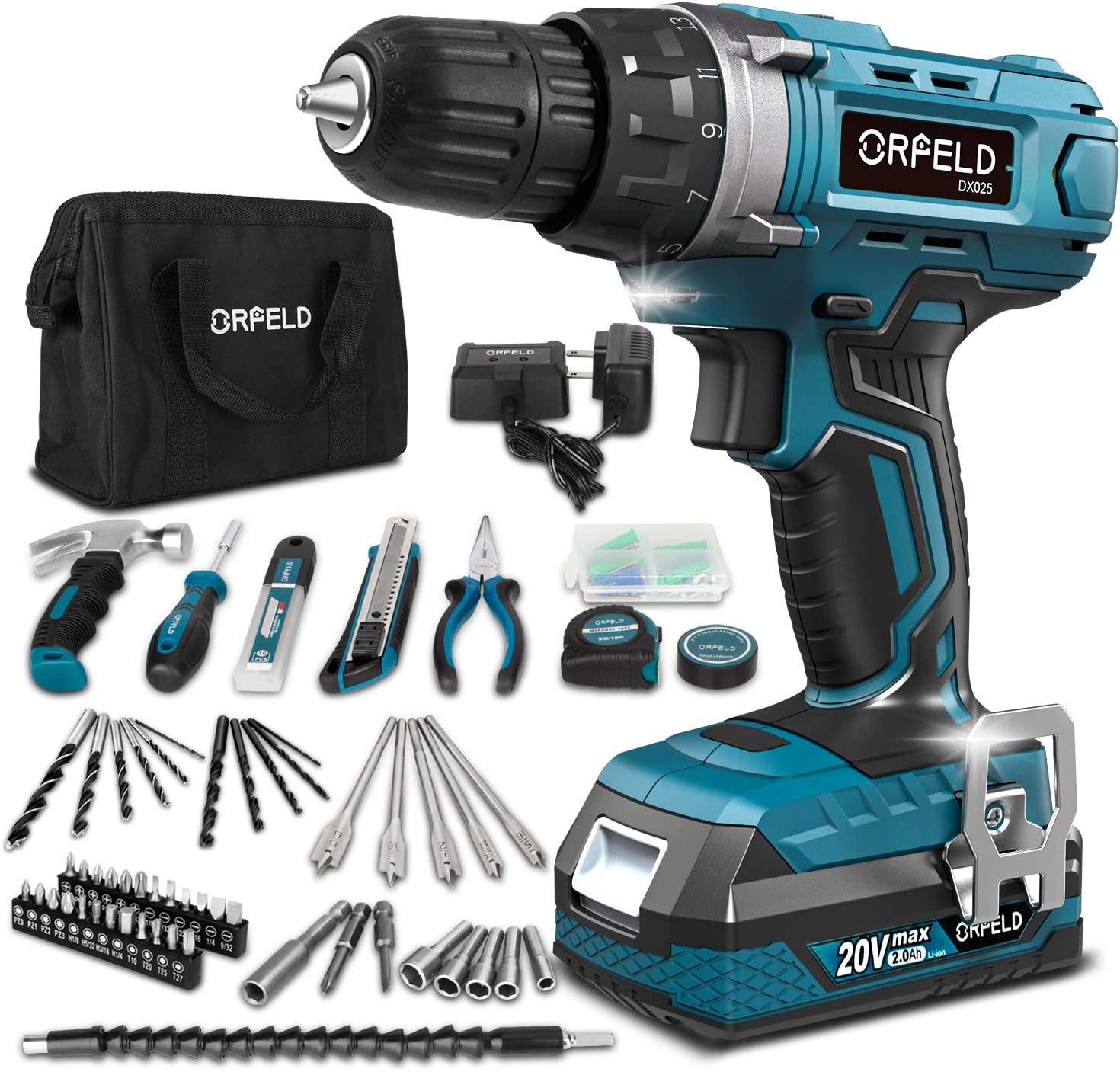 ORFELD Cordless Drill Power Drill Driver Home Tool Kit 20V Max 2.0Ah Battery, 165 Pcs Accessories, Built-in LED, 2 Variable Speed, 3/8'' Metal Keyless Chuck for Drilling Wood, Metal, Plastic. Blue