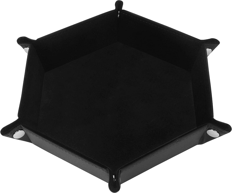 BELLE VOUS Bandeja de Dados - Bandeja Plegable Hexagonal Cuero Sintético y Terciopelo Negro para Juegos de Dados como DND, D&D, Juegos de rol y Otros Juegos de Mesa (Negro)
