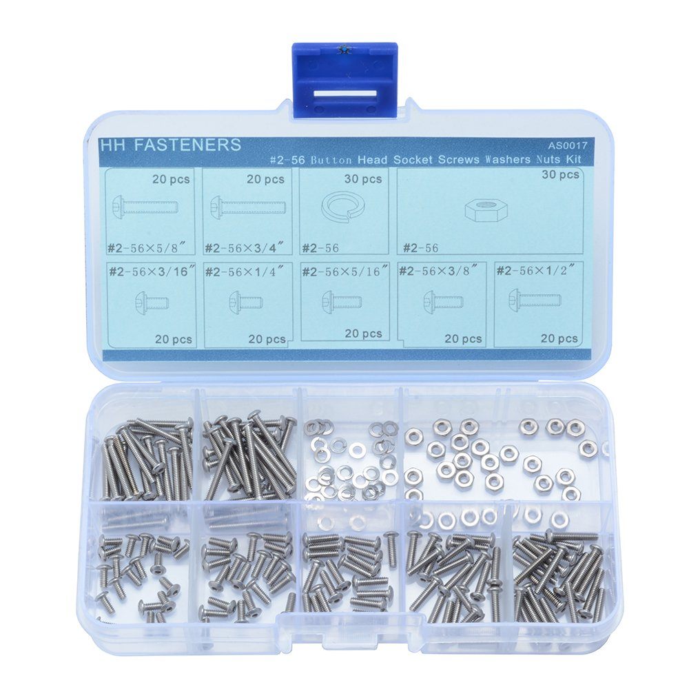 Button Head Socket Cap Bolts Screws Fully Machine Thread 1//8 to 2 Available 304 Stainless Steel 18-8 Bright Finish, 100 PCS by Eastlo Fastener 2#56x1//4