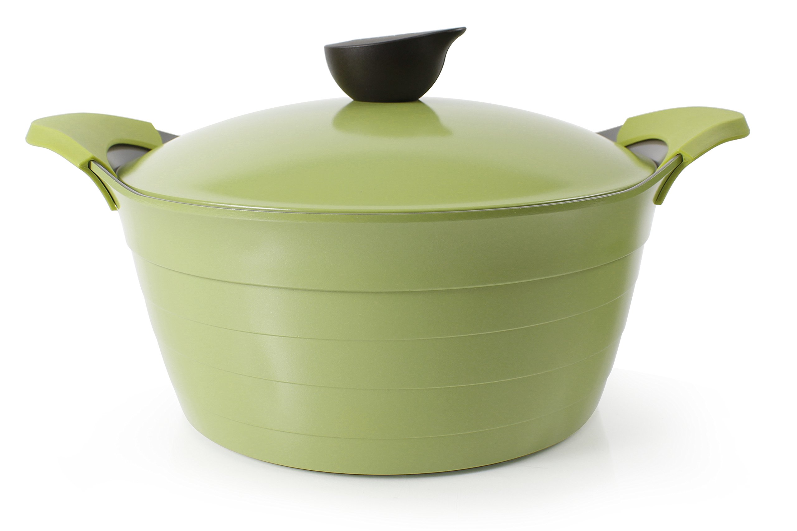 Neoflam Eela 7 QT Ceramic Nonstick Stockpot with Steam Releasing Lid in Olive Green by Neoflam