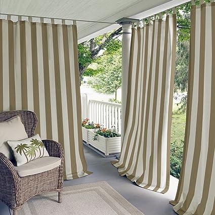 Amazon Com Elrene Highland Stripe Indoor Outdoor Curtain Panel