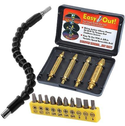 Juego de extractores de tornillos dañados, eje flexible, extensión de destornillador eléctrico con extractor de tuercas fácil de romper, incluye 1 ...