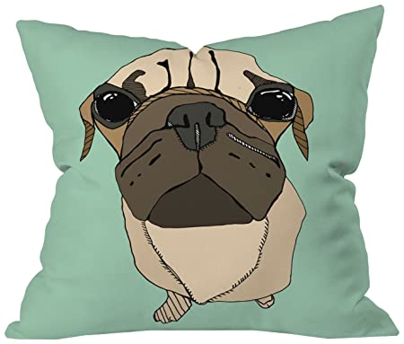 Deny Designs Casey Rogers Puglet Throw Pillow, 18 x 18