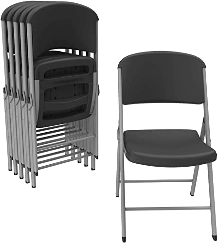 LIFETIME 80844 Commercial Grade Folding Chairs, 6 Pack, Black