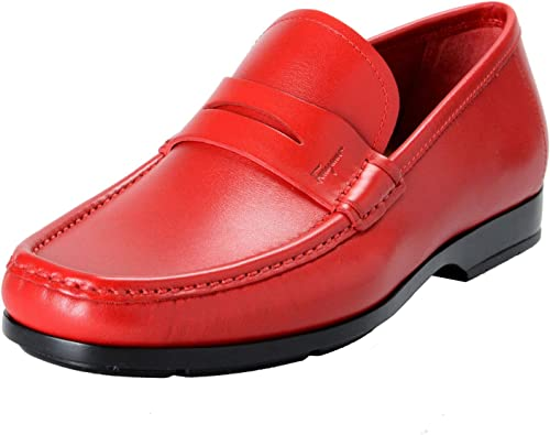 Red Loafers Slip On Shoes Sz