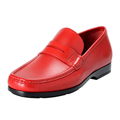 "Salvatore Ferragamo ""Gioele 1"" Mens Red Loafers ..."