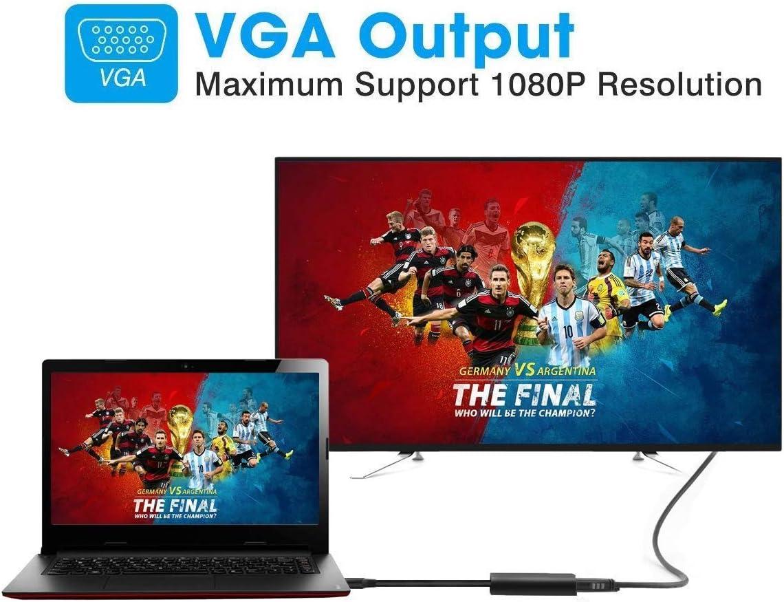 HOPLAZA - Adaptador USB a VGA, USB VGA, convertidor VGA con múltiples pantallas, resolución de hasta 1920 x 1080, multimonitor, USB 3.0 a VGA adaptador para Windows 10/8.1/8/7: Amazon.es: Electrónica
