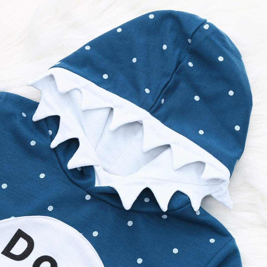 Kids Boys Girls Shark Romper Child Hoodie Jumper Sweatshirts Infant Top Jacket Toddler Long Sleeve T Shirt Cartoon Hooded Coat Clothes Outfits 1-5 Years