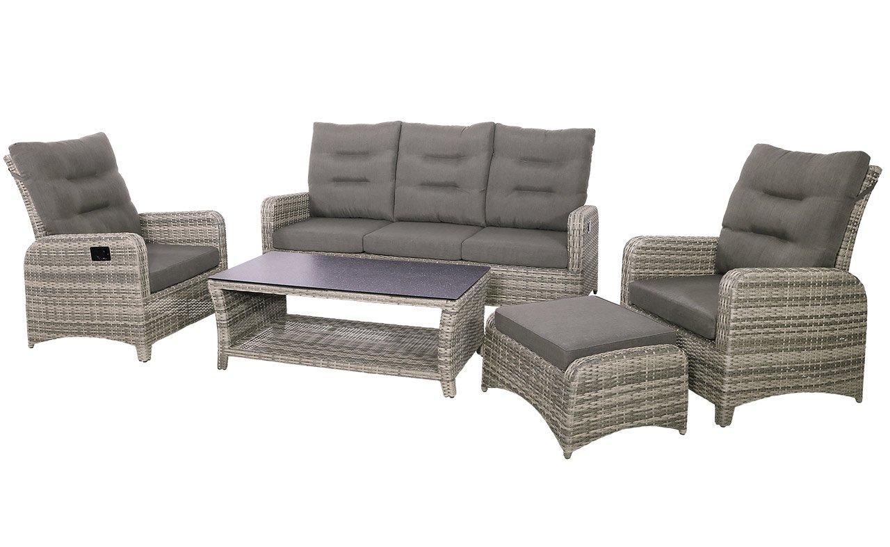 lifestyle4living Lounge Gartenmöbel Set aus Polyrattan in grau. Gartenstühle und Bank verstellbar inkl. Sitzauflagen, wetterfest. Ideal für Garten und Terrasse.