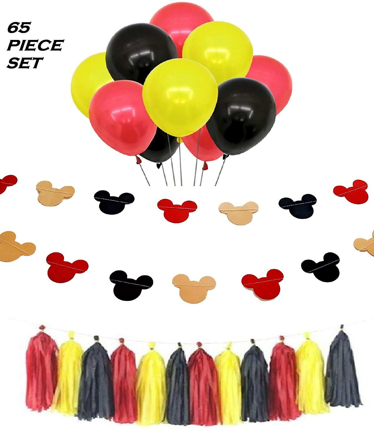 Mickey Mouse Birthday Party Decorations , Mickey Mouse Ears Banner Decor ,  30 Red Yellow and Black