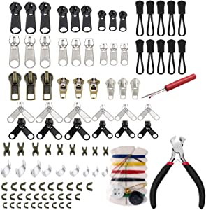 DmHirmg Zipper Repair Kit Zipper Replacement Pack Zipper Fix Instant with Zipper Plier,Zipper Pull,Zipper Stops for Clothing Luggage Backpacks(All-in-One)