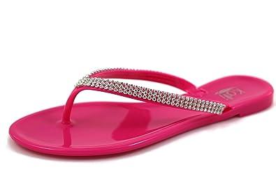 17bed1fbf9dd7f KALI Footwear Women s Joy Hot Pink Rhinestone V-Stap Jelly Flat Flip Flops  Summer Beach