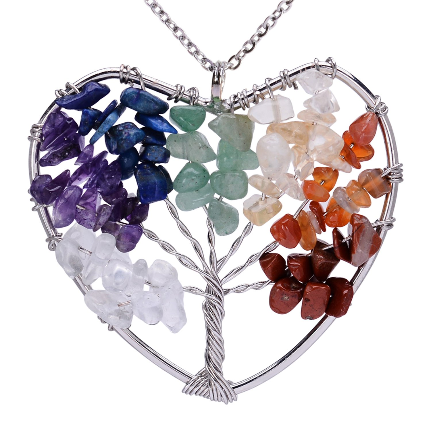 Cute Owl Tree of Life Pendant Wire Wrapped Birthstone Necklace Natural Healing Stone Crystal Necklace