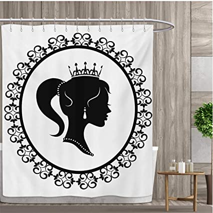 Smallfly Queen Custom Made Shower Curtain Profile Silhouette Of Princess In Frame With Victorian Details Young