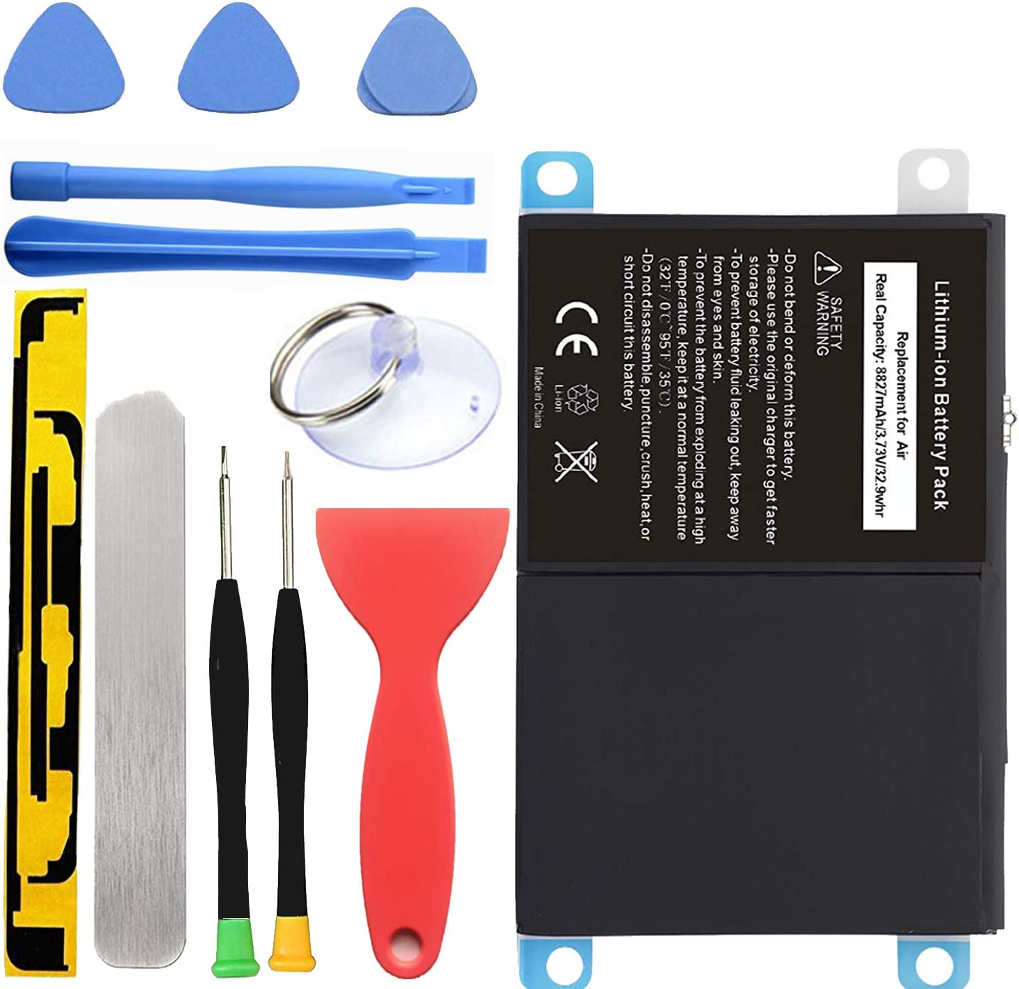 HDCKU New Battery Replacement Kit for iPad Air iPad 5 Generation A1474, A1475, A1476 with Full Set Installation Tools and Adhesive.