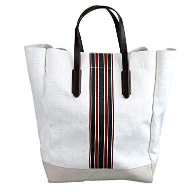 Amazon.com  Gucci Men s White Canvas Top Handle Large Tall Tote Bag ... 54eef3fdd57e5