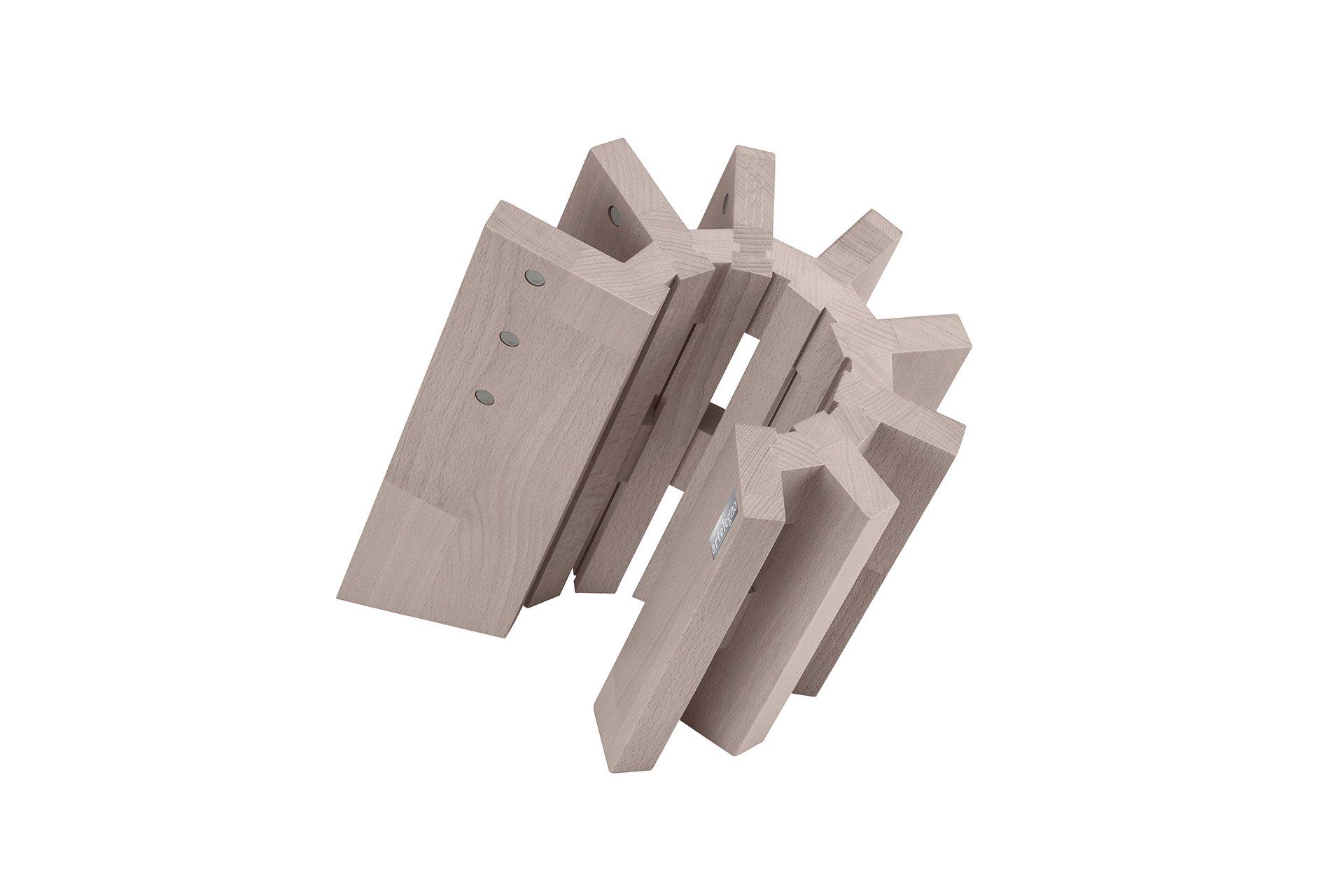 Artelegno 51/W Pisa Magnetic Knife Block, Solid Beech Wood Whitewashed Finish