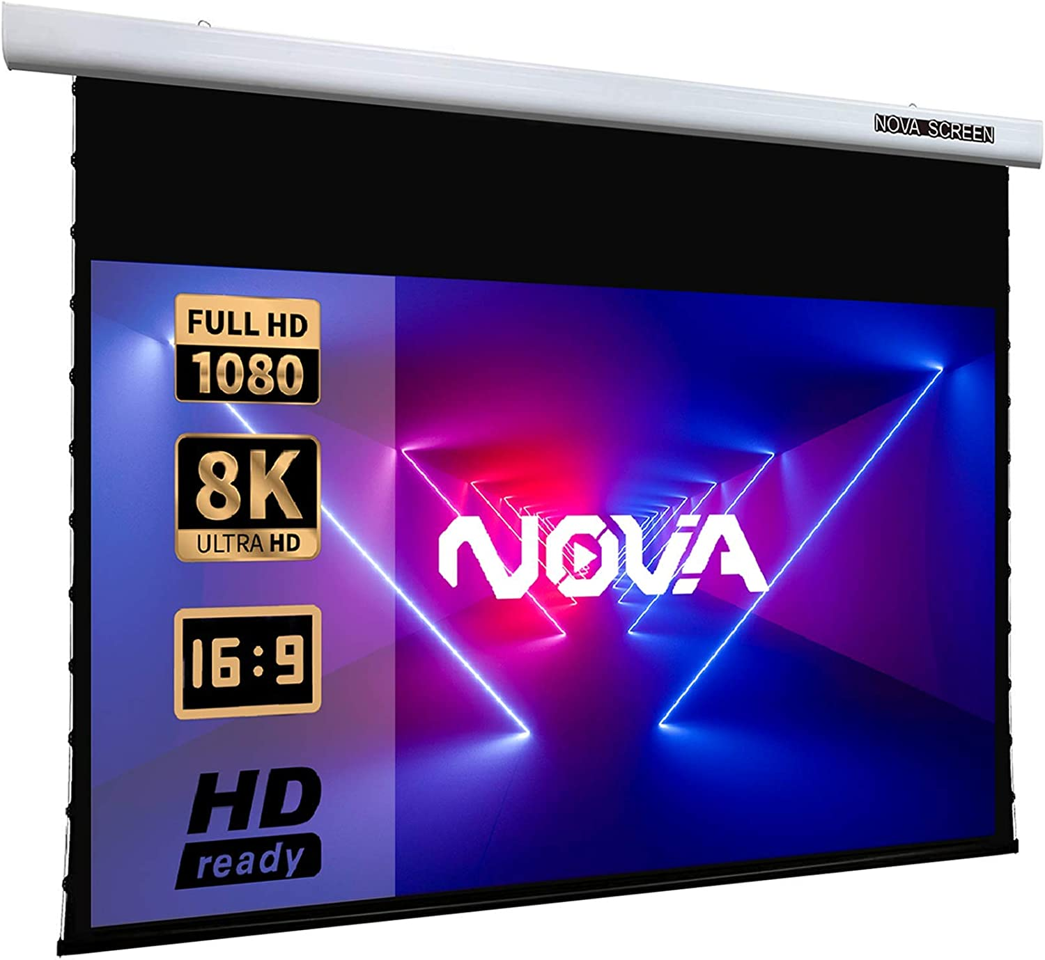 NovaScreen Spectrum Tab-Tension, 100-inch, Active 3D 1080 8K Ultra HD [16:9]. Electric Motorized Projector Screen, Indoor/Outdoor Projector Movie Screen for Home Theater.