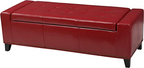 Christopher Knight Home Chelsea PU Storage Ottoman with Studs, Red
