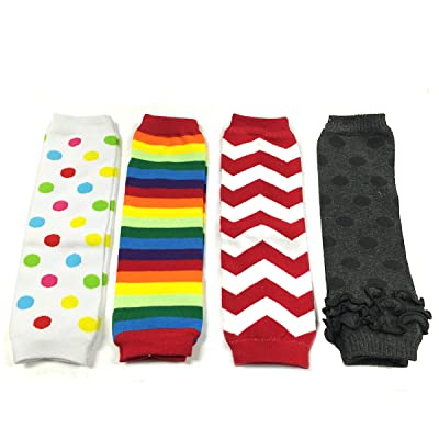 Allydrew Footless Leg Warmers for Babies and Toddlers - Dots, Rainbow Stripe, Chevron, Grey (4 pack)