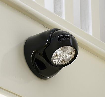 Auraglow con Pilas del Movimiento Activado Sensor PIR inalámbrico extraíble Luz de Seguridad LED - Negro