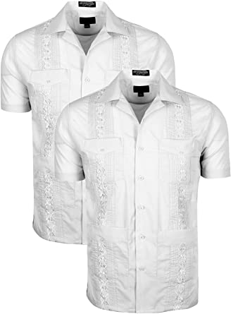 Volcan - Camisa de Guayabera Cubana de Manga Corta y Larga para Hombre - - Large: Amazon.es: Ropa y accesorios