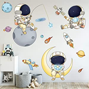 Astronaut Wall Stickers for Boys Bedroom, DILIBRA Cartoon Spaceman Outer Planet Creative DIY Art Vinyl Removable Wall Decal, Star Spaceship UFO Glaxy Wallpaper Decor for Kid's Room Nursery
