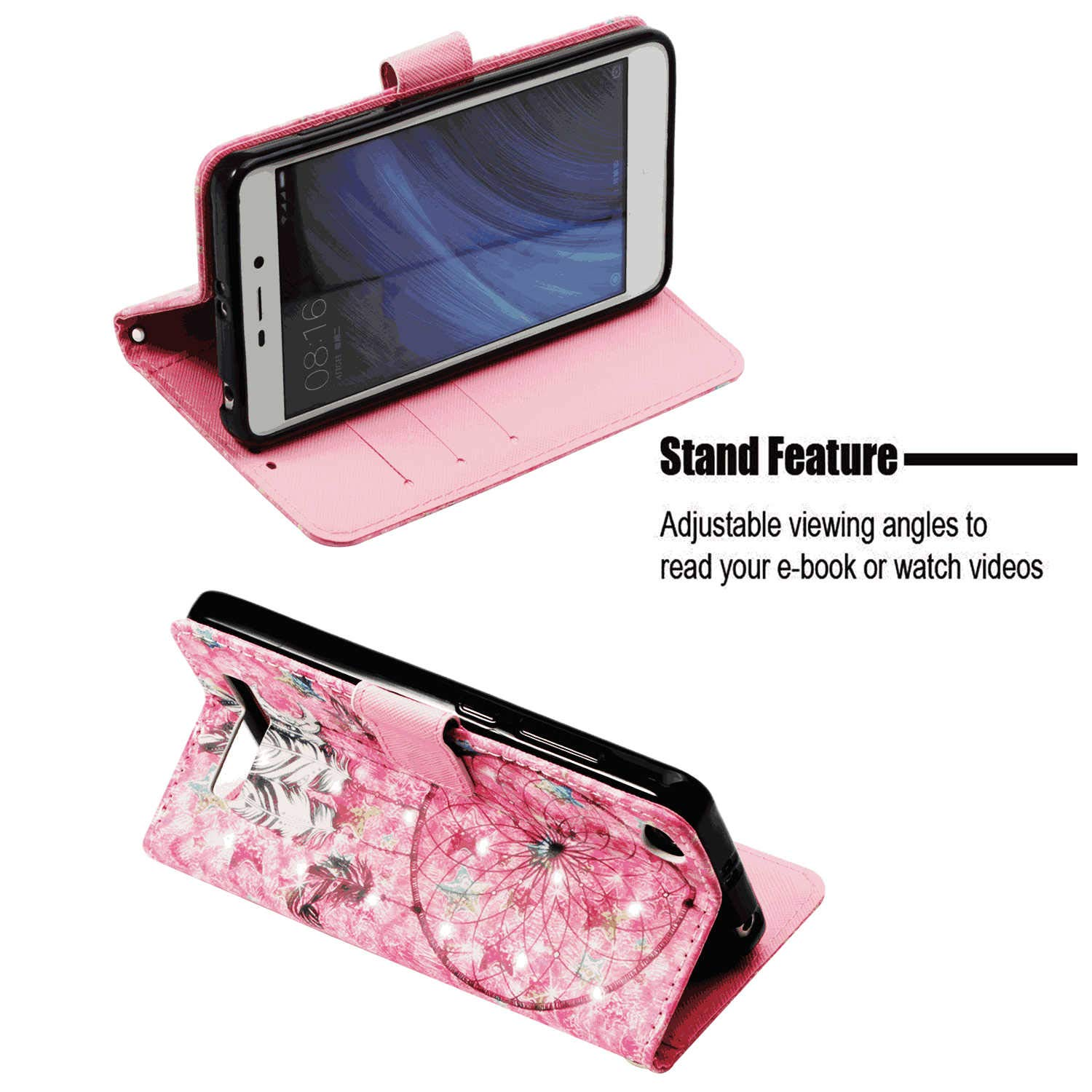 Cover for iPhone 8 Leather Cell Phone Cover Card Holders Kickstand Premium Business with Free Waterproof-Bag Grey3 iPhone 8 Flip Case