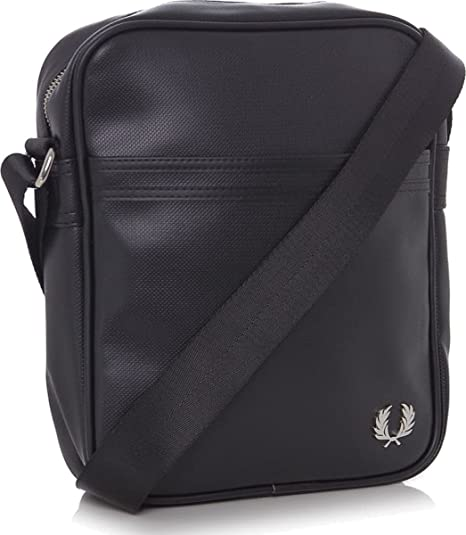 72b7d49db8afd FRED PERRY BORSELLO BORSA A TRACOLLA PIQUE nero BLACK SHOULDER BAG PVC  28x22x5 cm UOMO DONNA