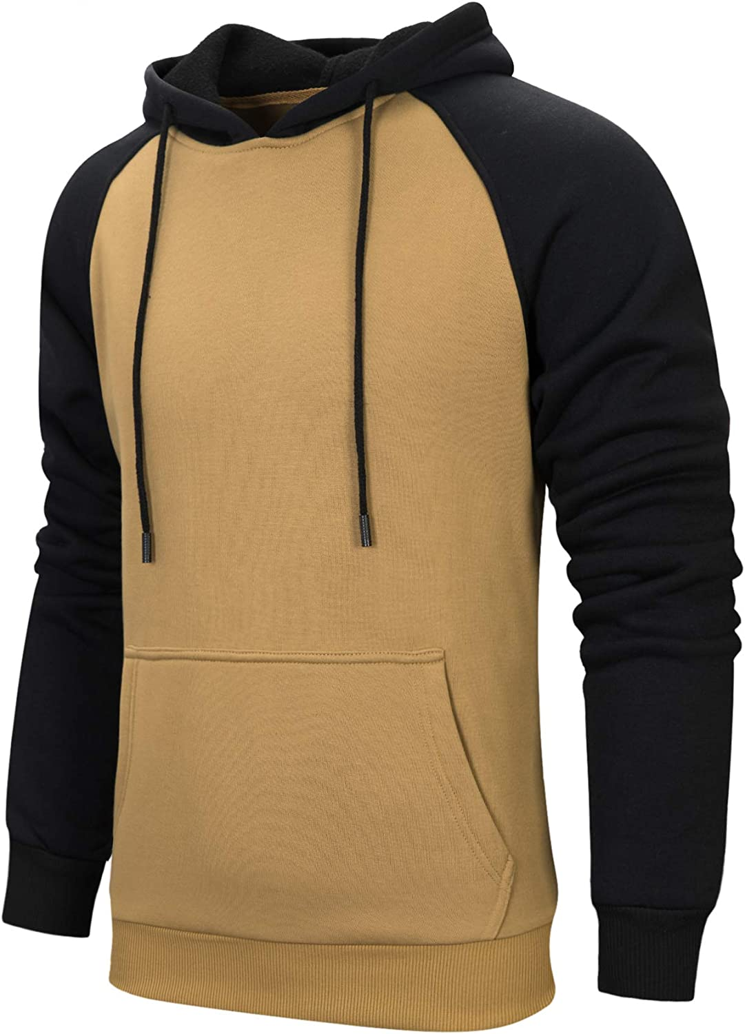 LBL Mens Contrast Color Hoodies Comfort Casual Pullover Sports Outwear Sweater Khaki S