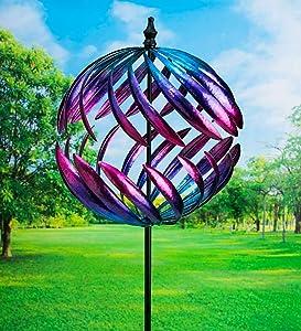 Plow & Hearth Oversized Split Sphere Metal Wind Spinner - 20 Dia. x 86