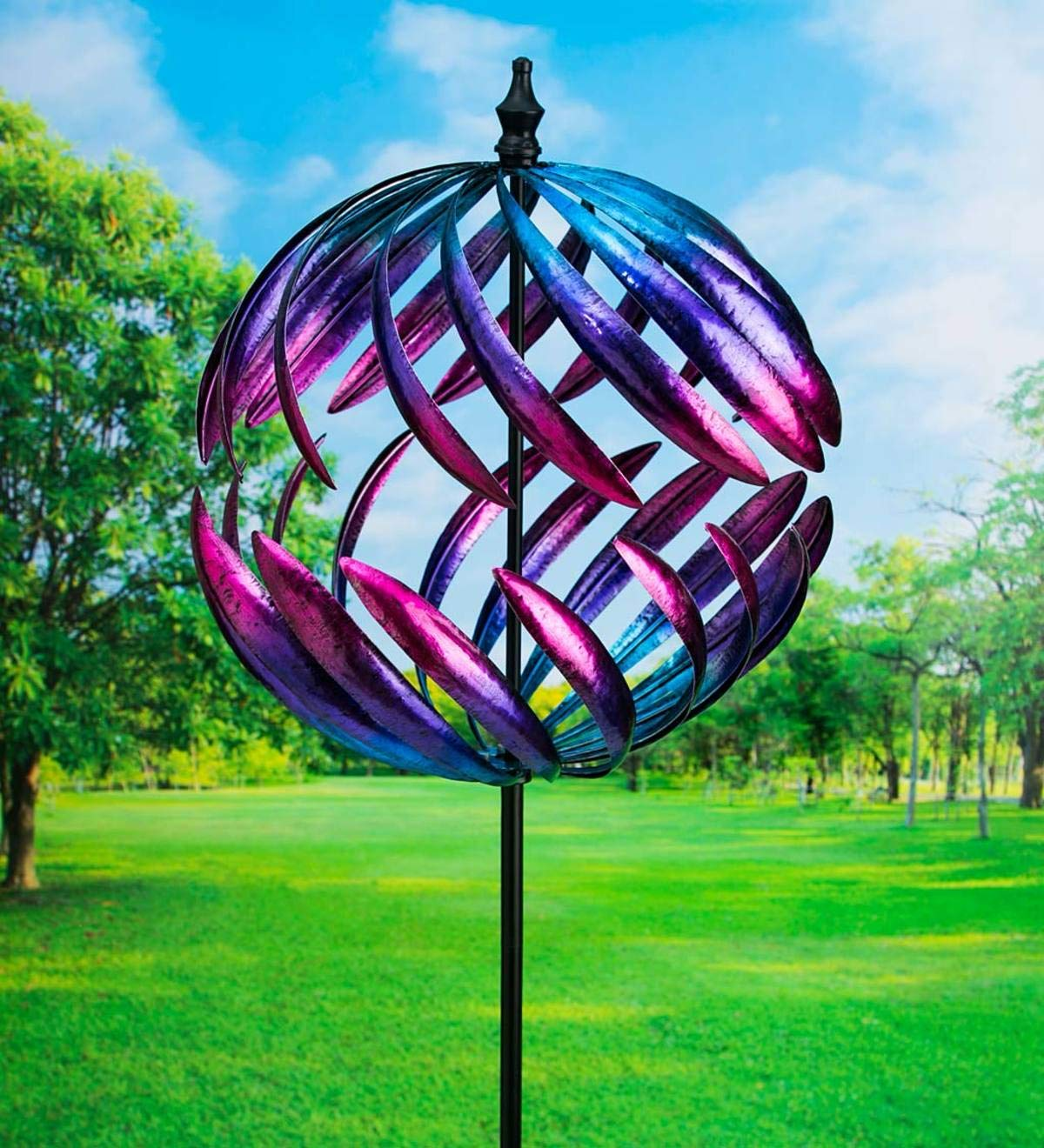 Plow & Hearth Oversized Split Sphere Metal Wind Spinner - 20 Dia. x 86 by Plow & Hearth (Image #1)
