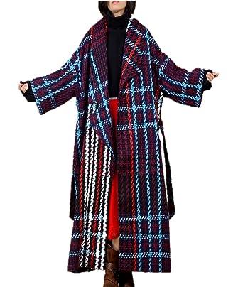 Yesno JBC Women Fashion Long Thicken Wool Jacket Plaid Tweed Coat Asymmetric Oversize Collar Long Sleeve/Belt B078C6LRGC