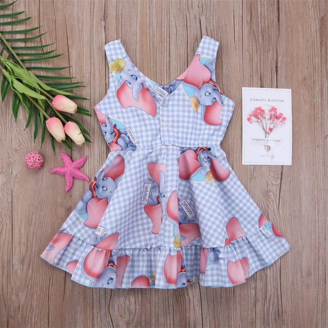BHDSLAO Kids Baby Girls Clothing Dresses Princess Animal Dumbo Dress Sleeveless Kid Girl