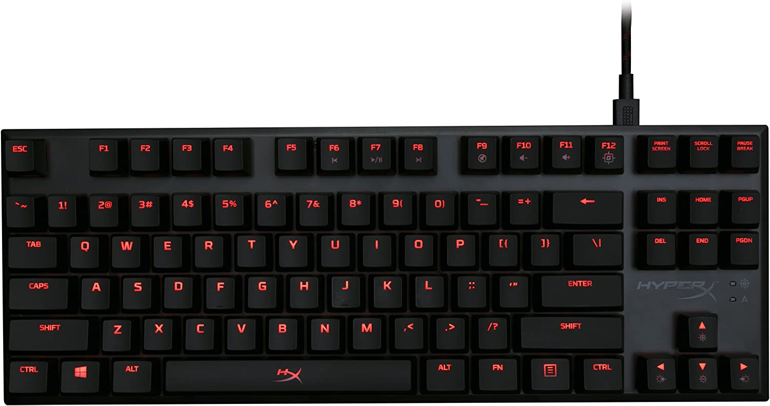 HyperX Alloy FPS Pro - Tenkeyless Mechanical Gaming Keyboard - 87-Key, Ultra-Compact Form Factor - Clicky - Cherry MX Blue - Red LED Backlit (HX-KB4BL1-US/WW)