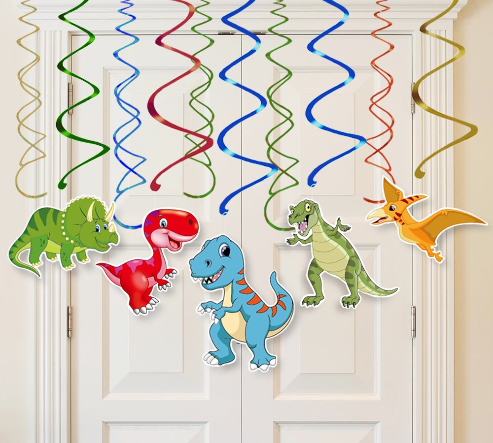 Moon Boat 30 Ct Dinosaur Hanging Swirl Decorations - Dino Fossil Jurassic T-REX Birthday Party Supplies Ornaments by Moon Boat (Image #5)